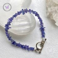 Tanzanite Chip Healing Bracelet with Silver Toggle Clasp
